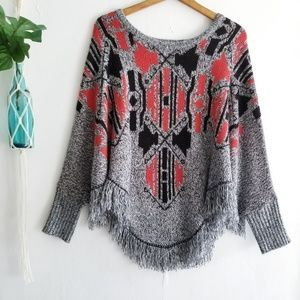Mossimo Red & Black Knit Poncho Sweater S/M